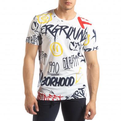 Tricou pentru bărbați alb cu graffiti it150419-64 2