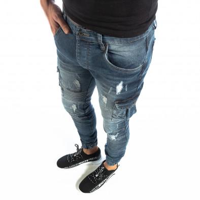 Cargo Jeans albaștri pentru bărbați it040219-17 2