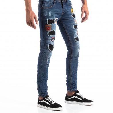 Slim Jeans albaștri cu aplicații și patch-uri pentru bărbați it260918-1 4