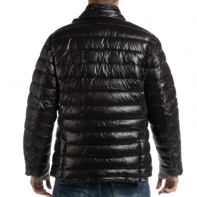 Geacă neagră din puf tip blazer pentru bărbați it261018-130 5