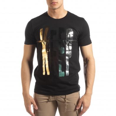 Tricou negru pentru bărbați cu imprimeu it150419-92 2