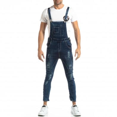 Salopetă de blugi în albastru cu patch-uri pentru bărbați it261018-5 3