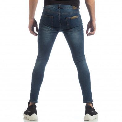Blugi Skinny de bărbați albaștri cu fermoare it040219-6 4