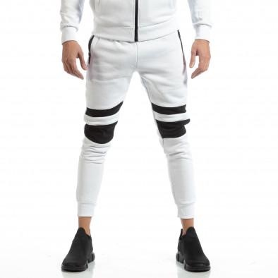 Jogger pentru bărbați alb cu părți negre it261018-61 3