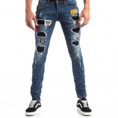 Slim Jeans albaștri cu aplicații și patch-uri pentru bărbați it260918-1 2