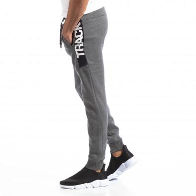 Pantaloni sport gri pentru bărbați Track Biker style it250918-54 2