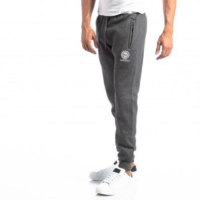 Pantaloni sport gri cu logo pentru bărbați it250918-41 2