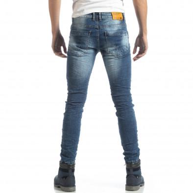 Blugi pentru bărbați albaștri Slim fit cu rupturi decorative it051218-5 4