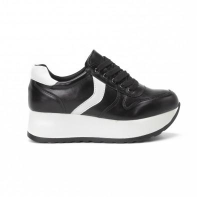 Pantofi sport cu platforma de dama în negru și alb it150818-79 2