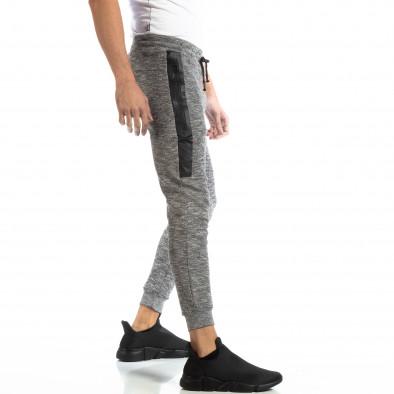 Jogger pentru bărbați din tricot în melanj gri it261018-36 2