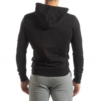 Hanorac negru Basic de bărbați cu buzunar tip marsupiu it150419-44 4