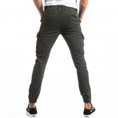 Pantaloni cargo verzi de bărbați cu fermoare la crac it250918-1 4