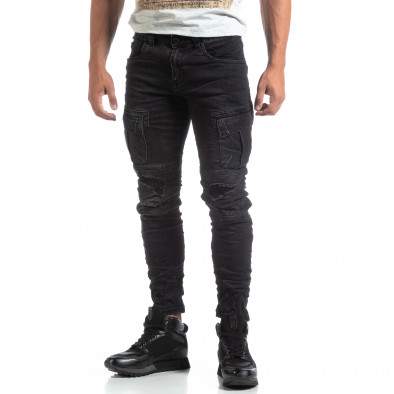 Cargo Jeans negri de bărbați stil rocker it170819-53 3