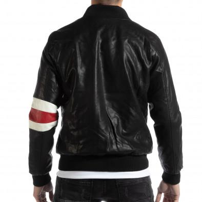Geacă neagră Bomber din piele ecologica pentru bărbați it261018-120 4
