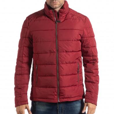 Geacă roșie pentru bărbați cu guler înalt it250918-84 3
