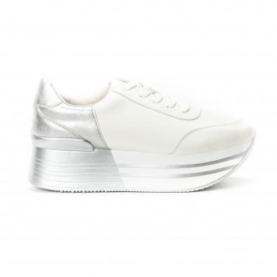 Pantofi sport cu platforma în argintiu-alb pentru dama  it150818-70 2