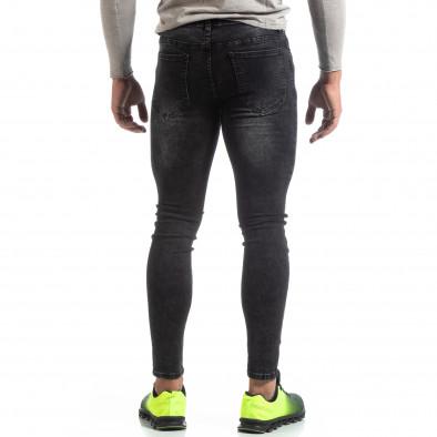 Blugi negri de bărbați Skinny cu efect decolorat it170819-43 3