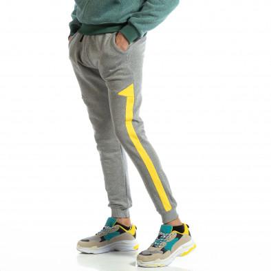 Pantaloni sport pentru bărbați din bumbac gri cu galben it261018-40 2