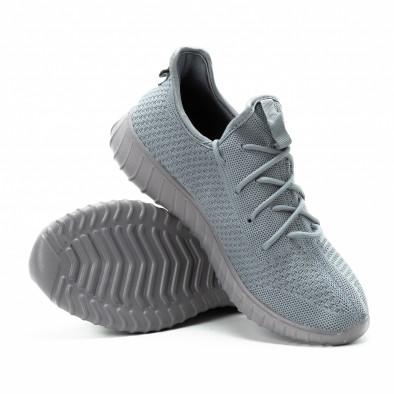 Adidași din material textil gri pentru bărbați model ușor it140918-12 4