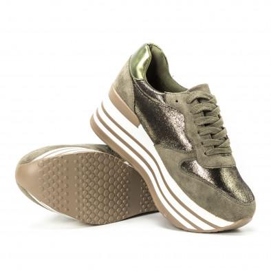Pantofi sport cu platforma pentru dama în verde militar it150818-65 4