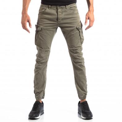 Pantaloni cargo verzi de bărbați cu fermoare la crac it260918-4 3
