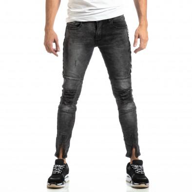 Worn Jeans în gri cu accente pentru bărbați  it261018-19 3