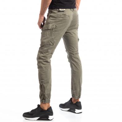 Pantaloni cargo verzi de bărbați cu fermoare la crac it260918-4 2