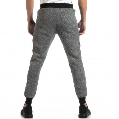 Pantaloni sport pentru bărbați în melanj negru-alb it261018-54 4