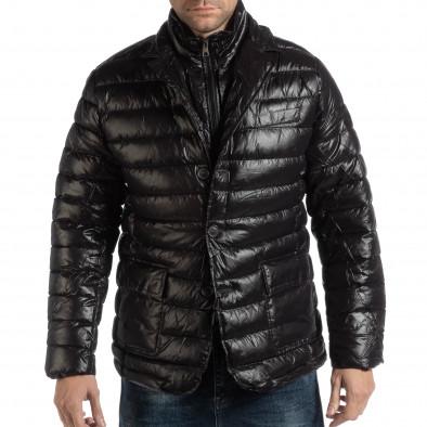 Geacă neagră din puf tip blazer pentru bărbați it261018-130 2