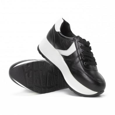 Pantofi sport cu platforma de dama în negru și alb it150818-79 4