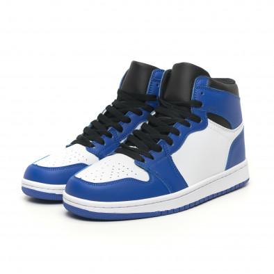 Teniși înalți de bărbați în albastru și alb it251019-21 4