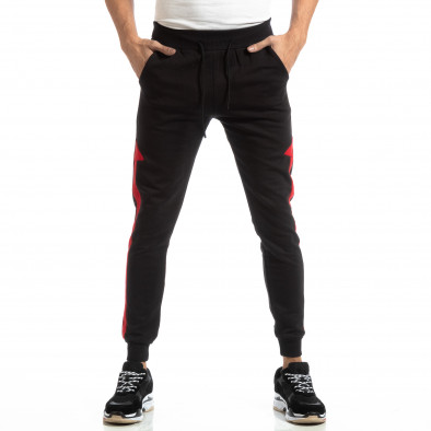 Pantaloni sport pentru bărbați din bumbac negru cu roșu it261018-39 3
