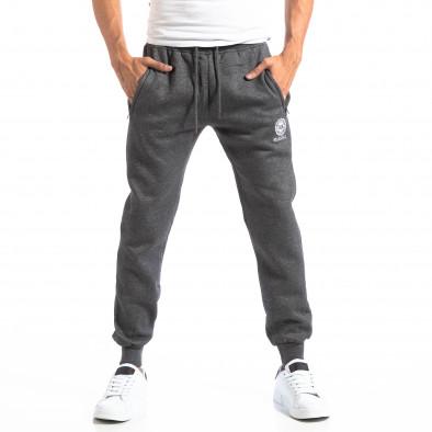 Pantaloni sport gri cu logo pentru bărbați it250918-41 3