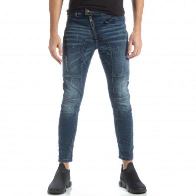 Blugi albaștri Biker style pentru bărbați it051218-9 3