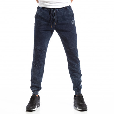 Biker Jogger pentru bărbați în culoare denim albastru it250918-44 3