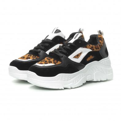 Pantofi sport de dama Chunky în negru și leopard it150319-62 3