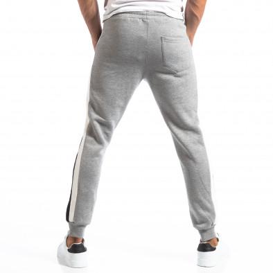 Pantaloni sport gri cu benzi pentru bărbați it250918-39 4