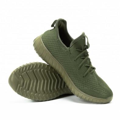 Adidași din material textil verde pentru bărbați model ușor it140918-13 4