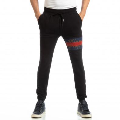 Jogger pentru bărbați negru din bumbac it261018-45 3