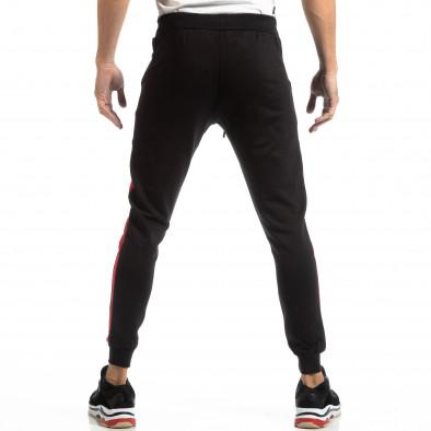Pantaloni sport pentru bărbați din bumbac negru cu roșu it261018-39 4