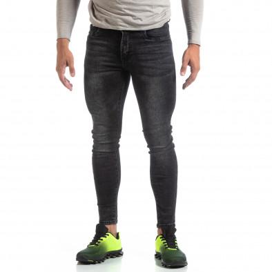 Blugi negri de bărbați Skinny cu efect decolorat it170819-43 2