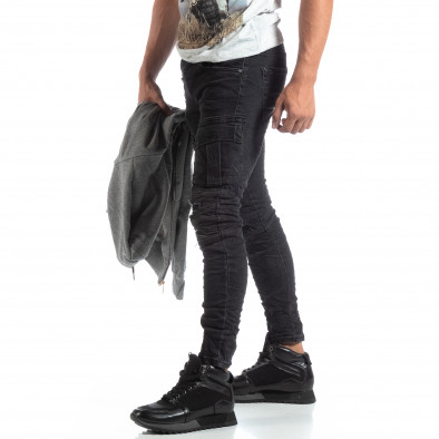 Cargo Jeans negri de bărbați stil rocker it170819-53 2