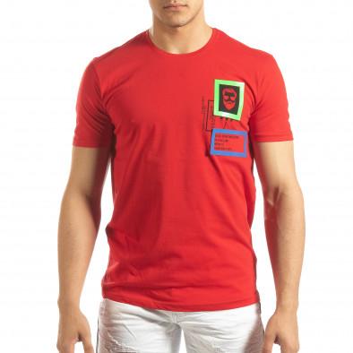 Tricou roșu pentru bărbați cu aplicații din cauciuc it150419-70 3