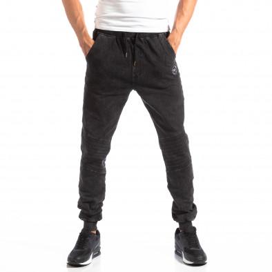 Biker Jogger pentru bărbați în culoare denim negru it250918-43 3
