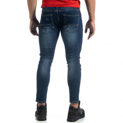 Blugi de bărbați Cropped albaștri cu accente Slim fit it041019-37 4