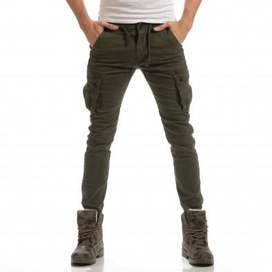 Cargo Jogger pentru bărbați verde cu banda it261018-28 3