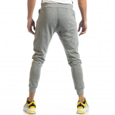 Pantaloni sport pentru bărbați din bumbac gri cu galben it261018-40 4