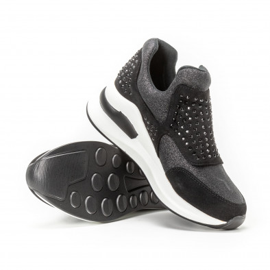 Pantofi sport negri de dama cu pietre și părți strălucitoare it150818-68 4