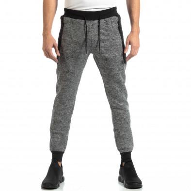 Pantaloni sport pentru bărbați în melanj negru-alb it261018-54 3