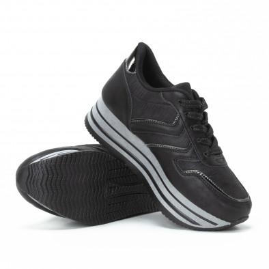 Pantofi sport de dama cu platforma în negru-gri it150818-31 4
